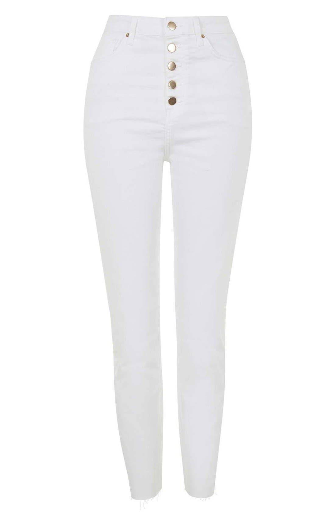 Alternate Image 3  - Topshop Moto 'Binx' Button Front Slim Jeans (White)