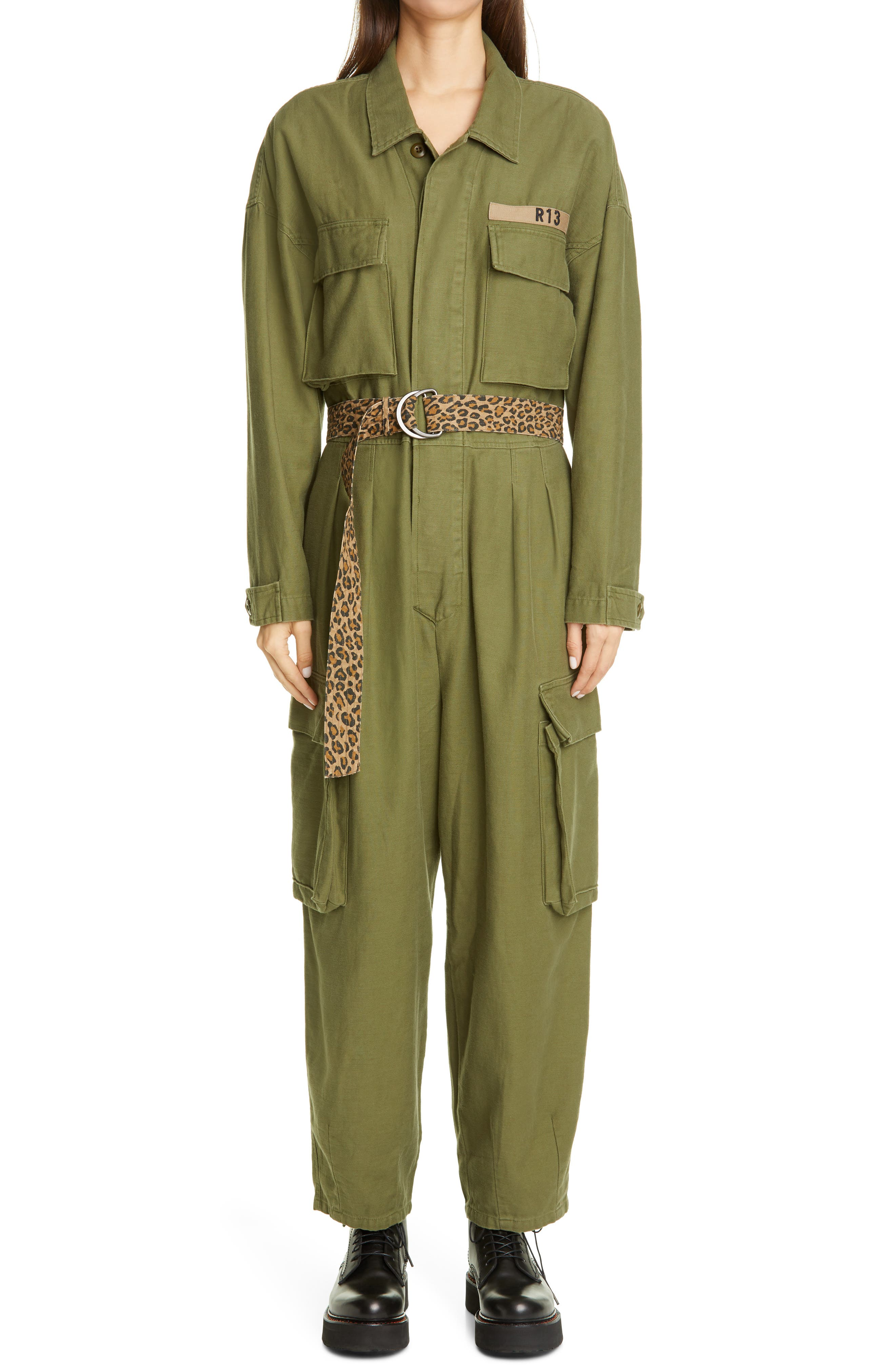 ex-chain store crepe snake print 2 pocket belted jumpsuit size 6
