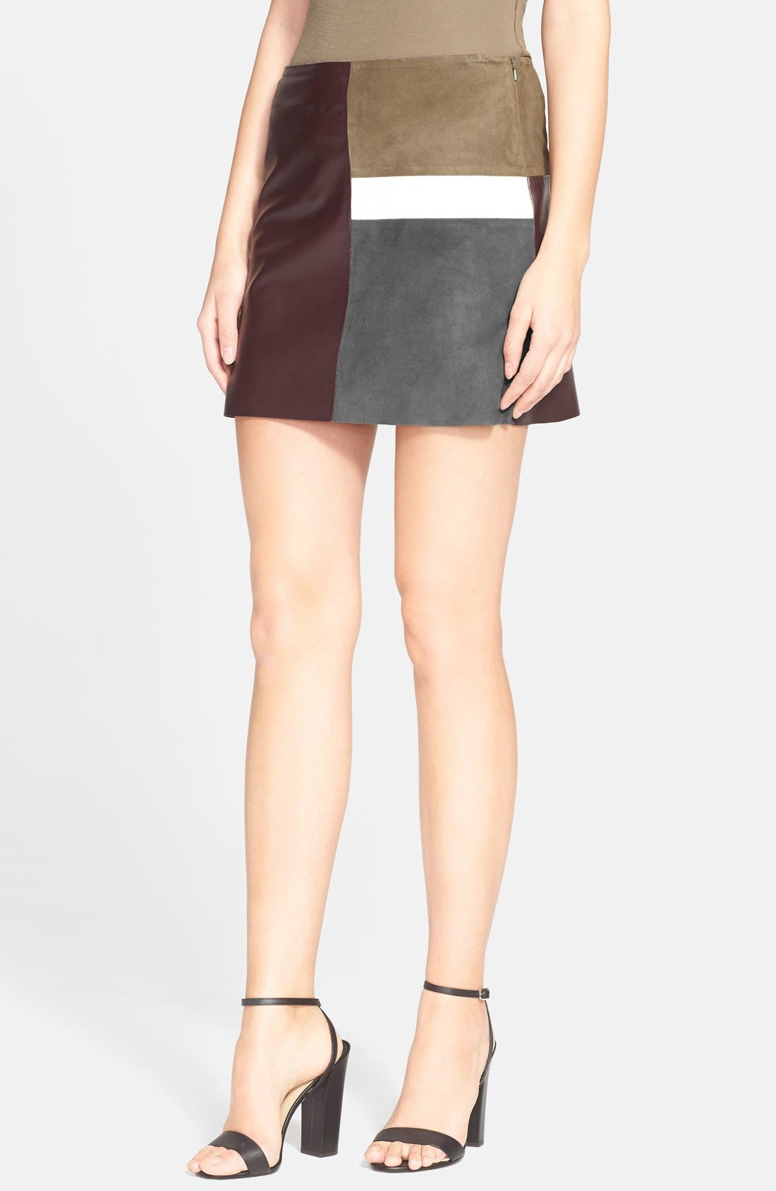 Alternate Image 1 Selected - Theory 'Shanrial' Leather & Suede A-Line Skirt