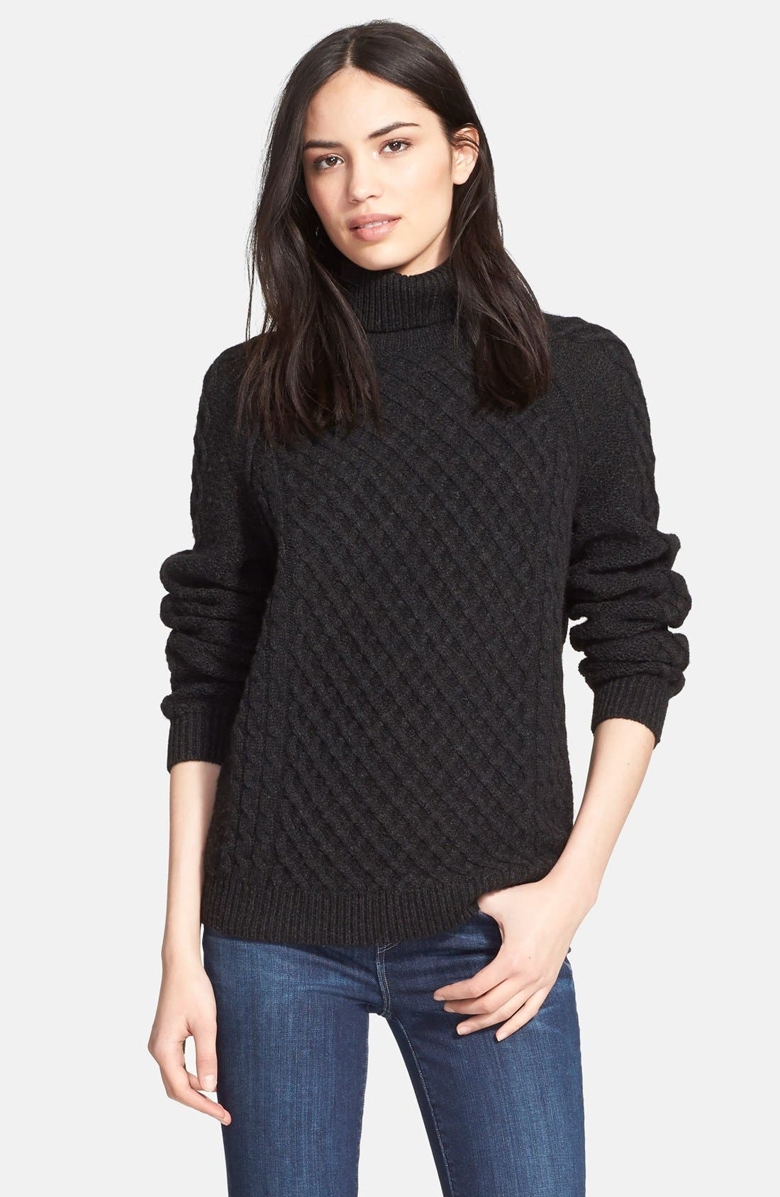 Textured Cable Knit Sweater,                         Main,                         color, Charcoal