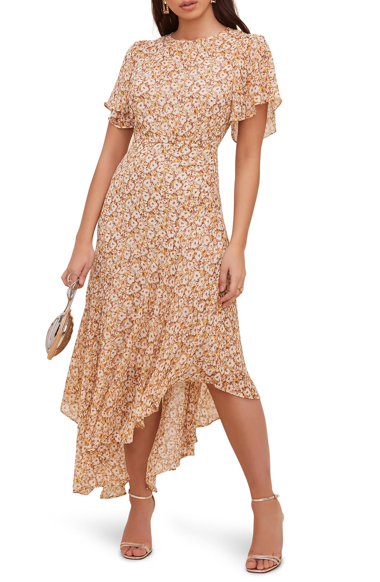 NREALY Falda Womens Plus Size Casual Short Sleeve Cold Shoulder Boho Flower Print Long Dress