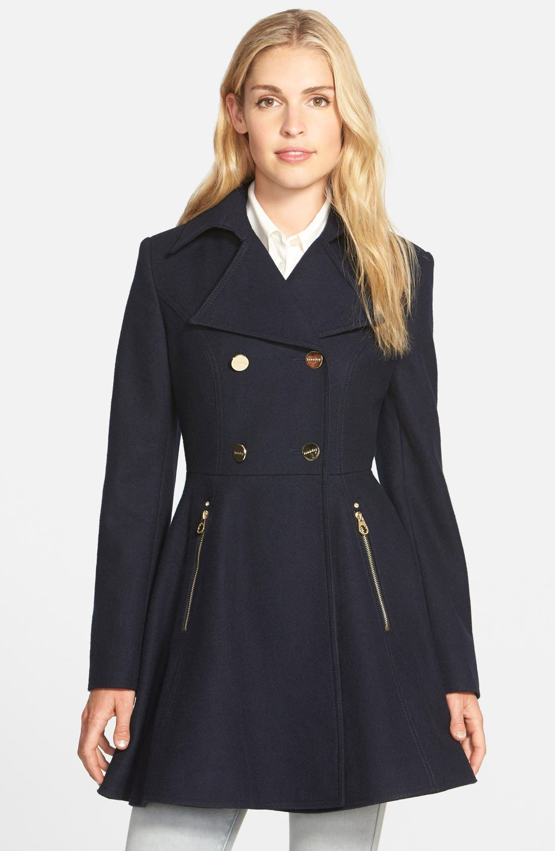 Laundry by Shelli Segal Double Breasted Fit & Flare Coat,                             Main thumbnail 1, color,                             Navy