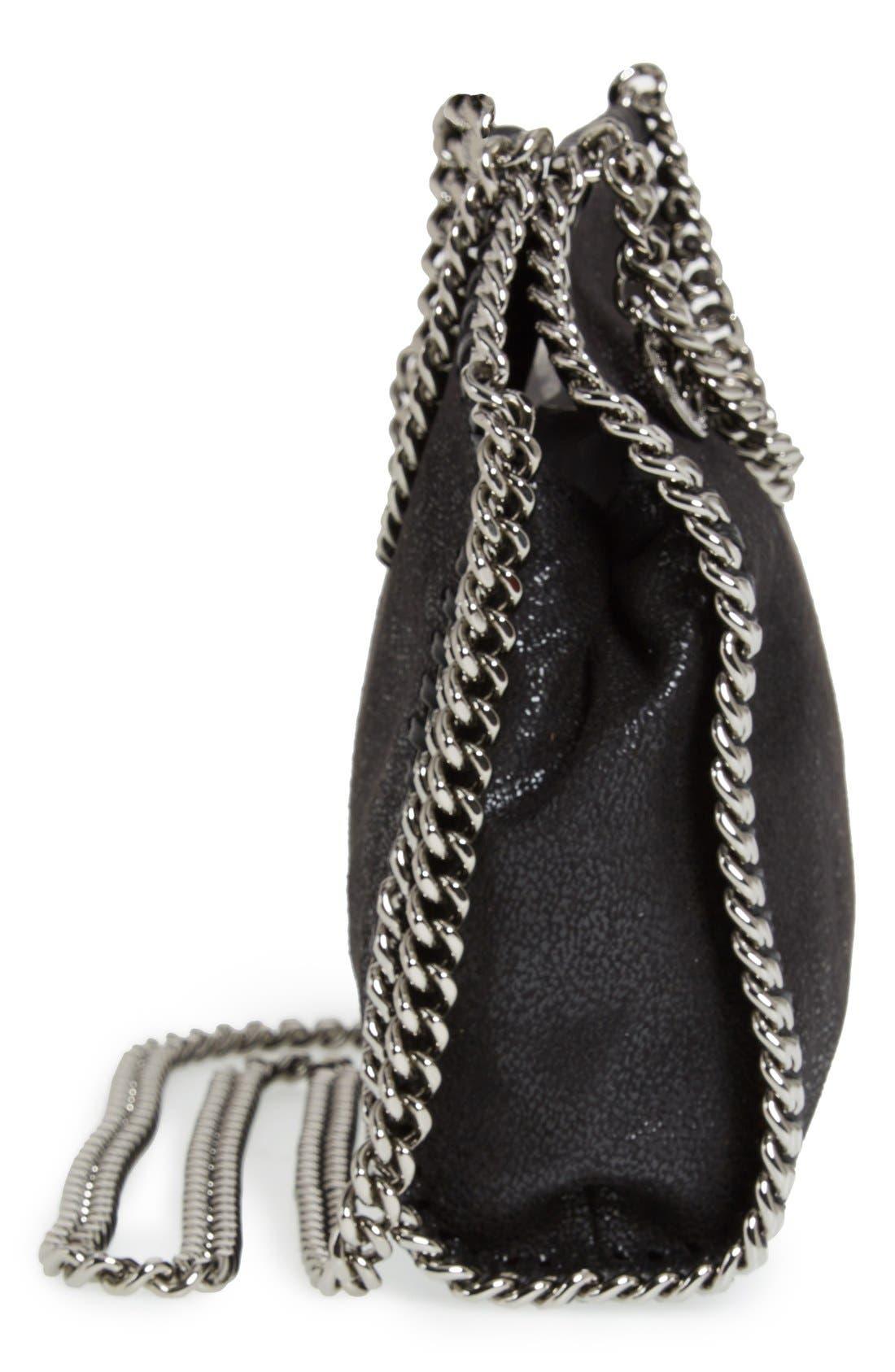 'Tiny Falabella' Faux Leather Crossbody Bag,                             Alternate thumbnail 5, color,                             Black