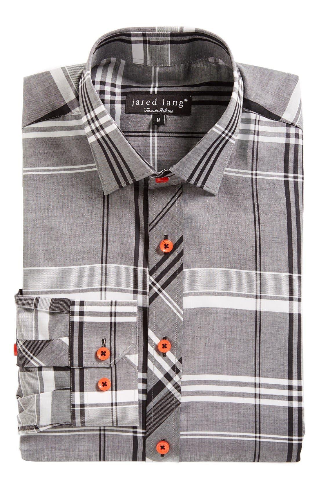 Trim Fit Plaid Sport Shirt,                             Alternate thumbnail 3, color,                             Grey Plaid