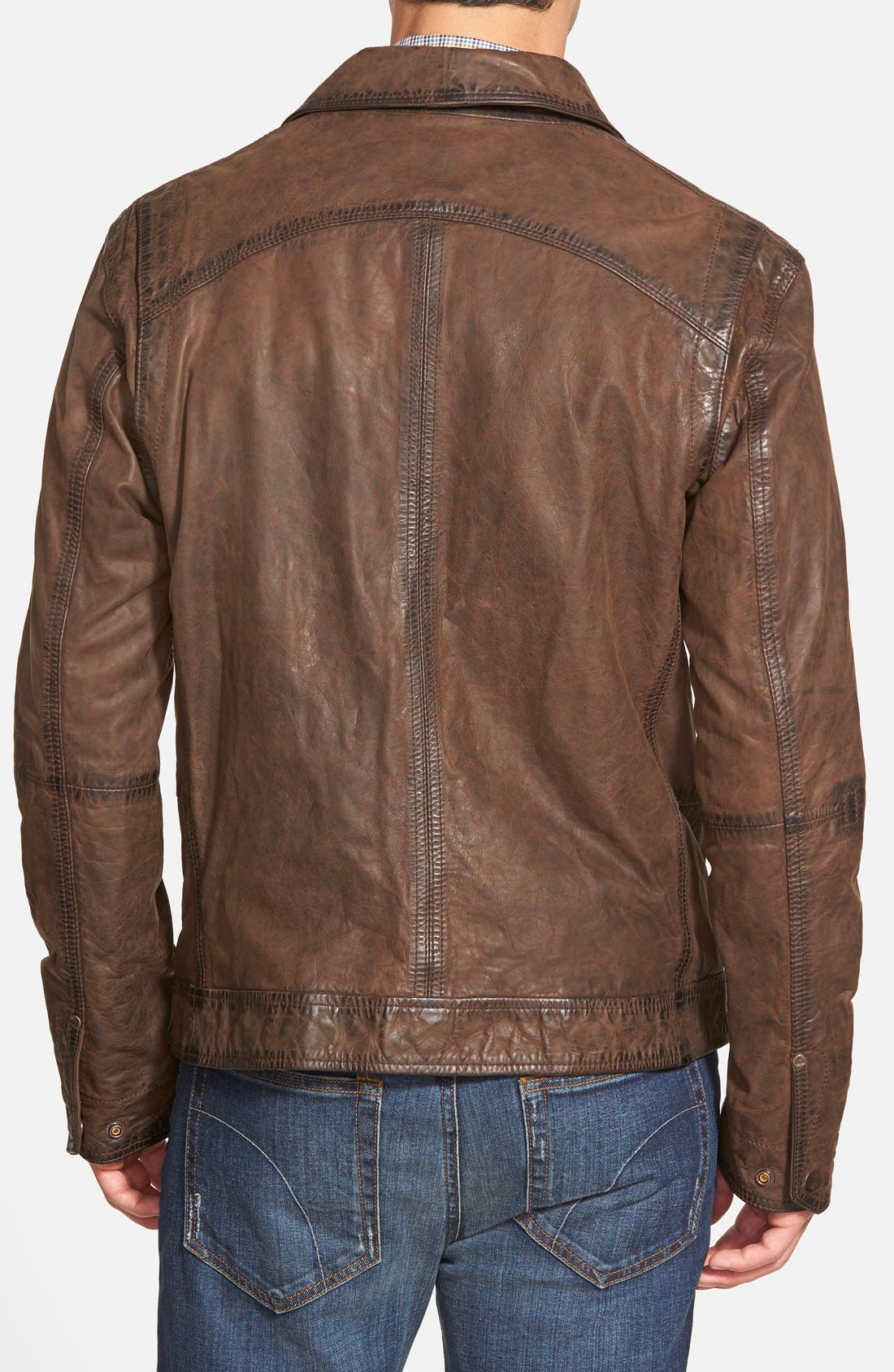 'Tenon' Leather Jacket,                             Alternate thumbnail 2, color,                             Cocoa
