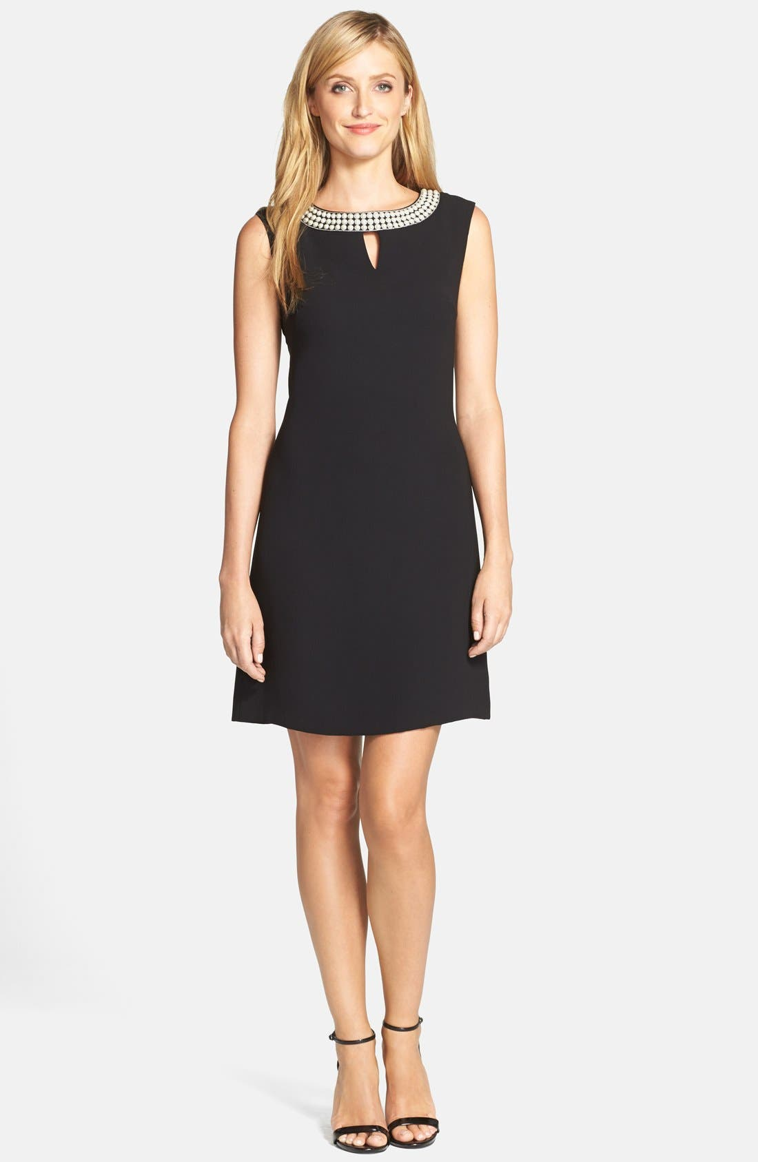 Alternate Image 3  - Tahari Embellished Neck Crepe Shift Dress (Regular & Petite)