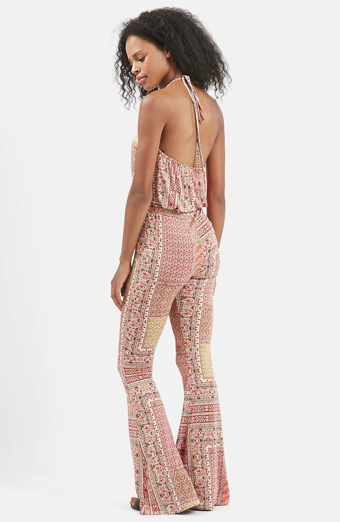 Alternate Image 2  - Topshop 'All in 1' Scarf Print Flare Jumpsuit
