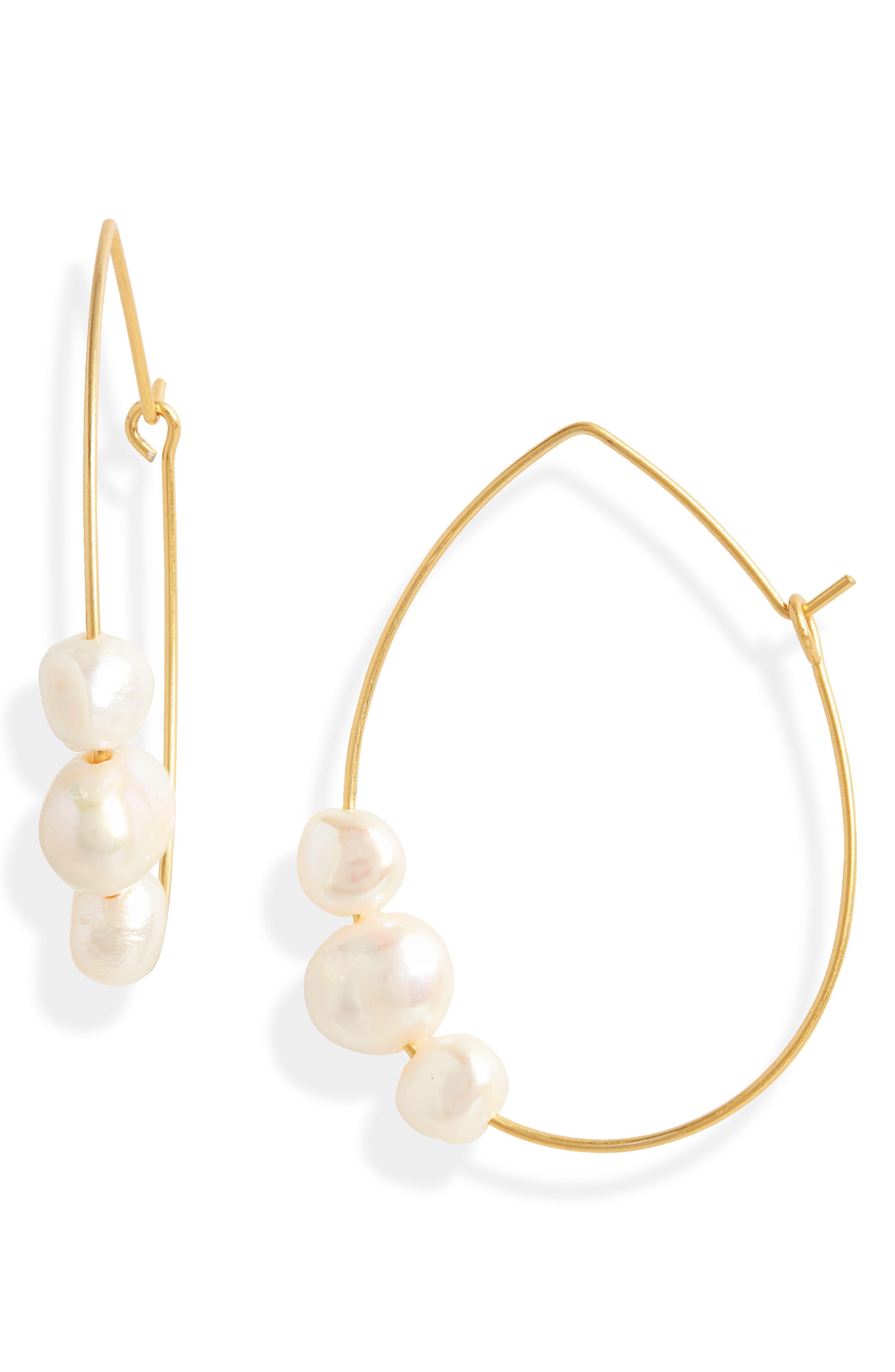 Women Chic Pearl Ear Cuff Beads Stud Earrings Gold Plated Drop Earings