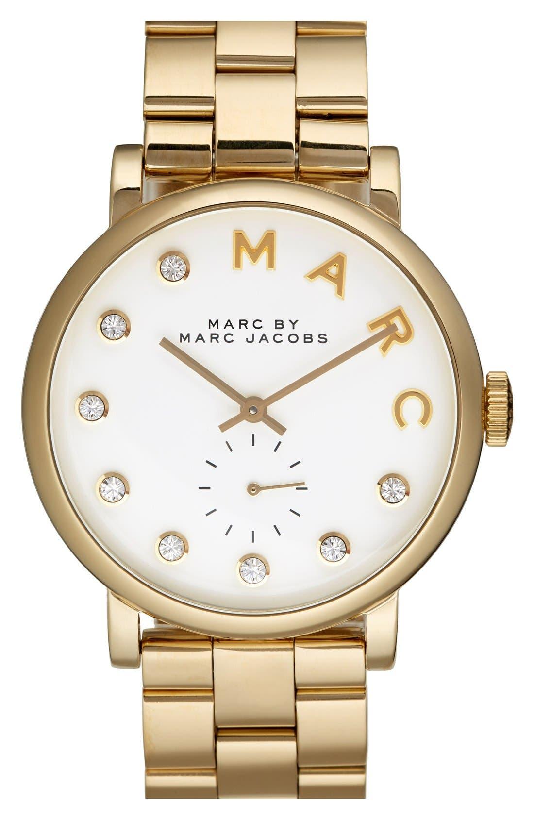 Main Image - MARC JACOBS 'Baker' Crystal Index Bracelet Watch, 37mm
