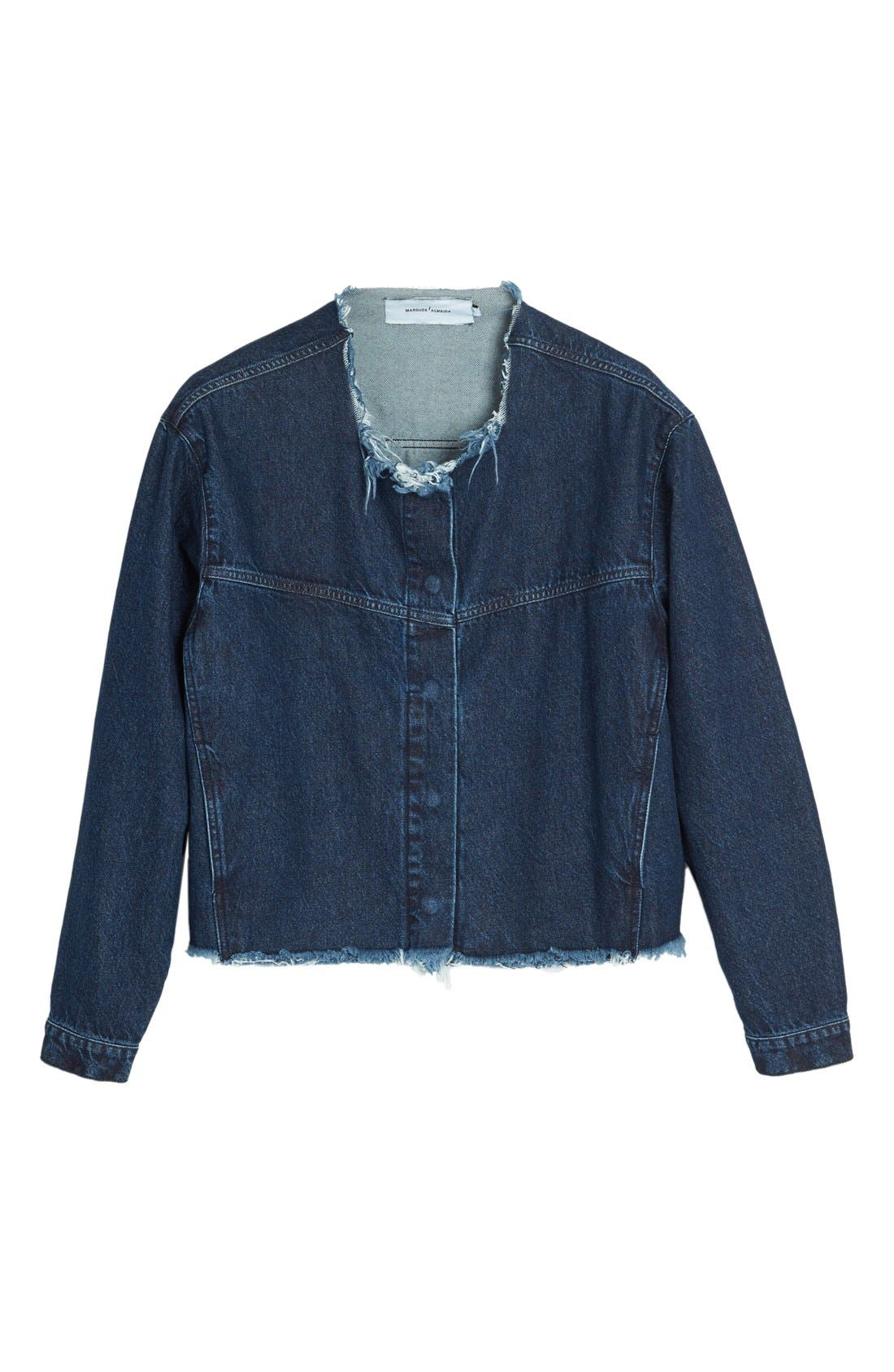 Alternate Image 4  - Marques'Almeida Collarless Denim Jacket