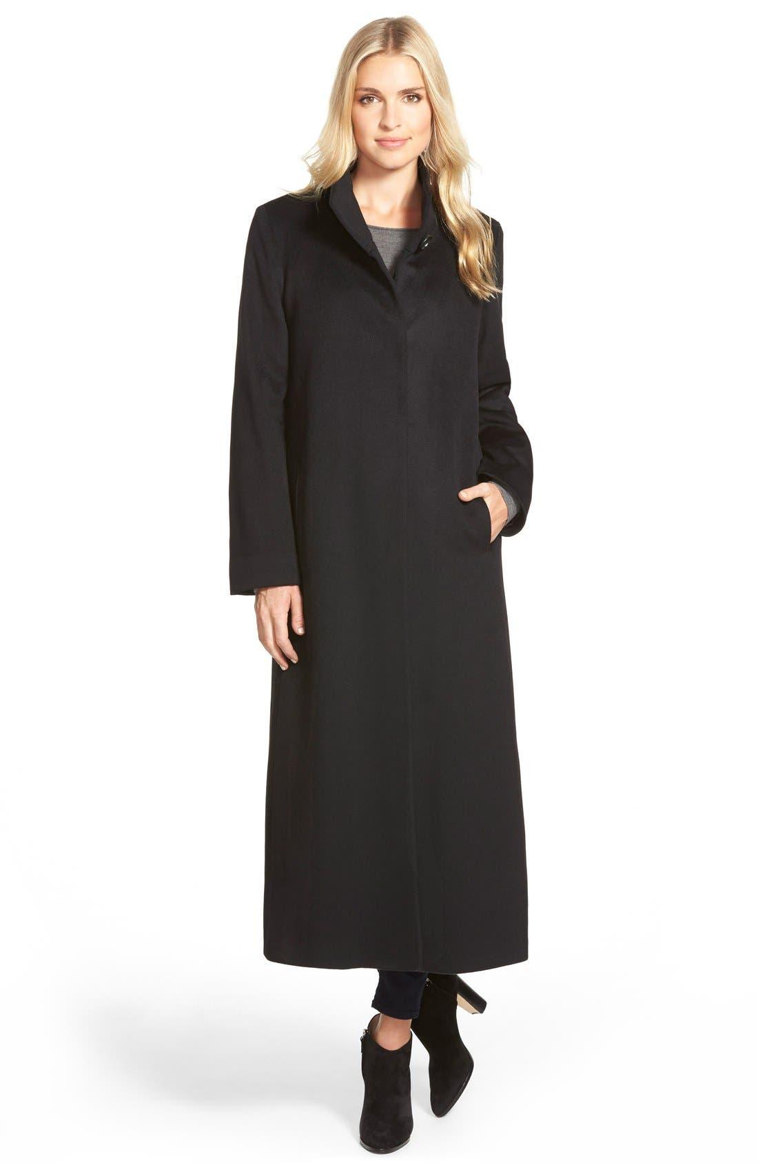 Long Wool Coat,                         Main,                         color, Black
