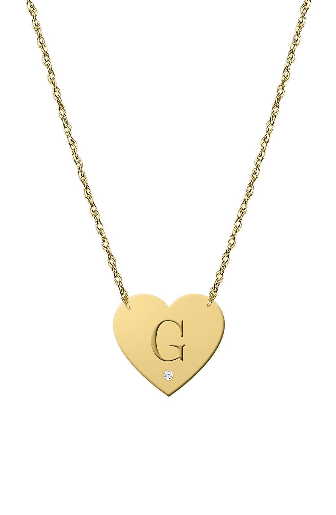 Diamond & Initial Pendant Necklace,                         Main,                         color, Silver - G