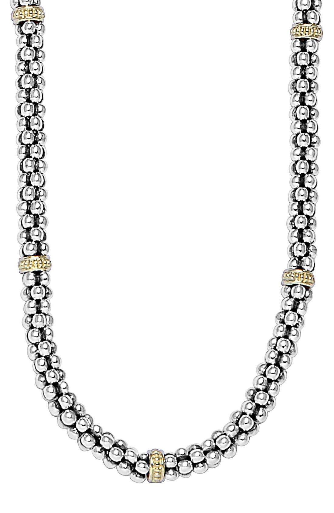 Mini Caviar<sup>™</sup> Rope Necklace,                         Main,                         color, Silver/ Gold