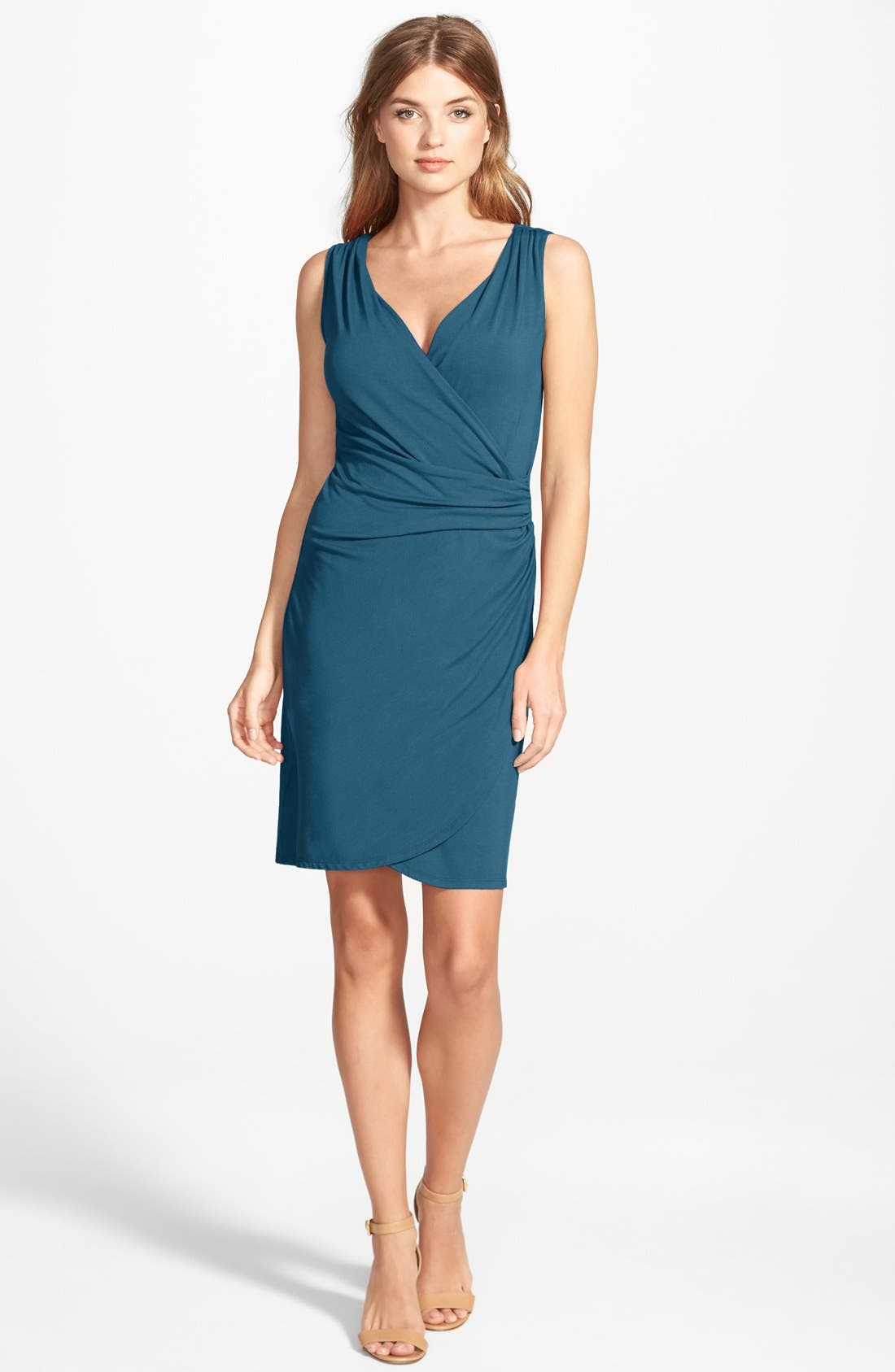 Main Image - Tommy Bahama 'Tambour' Sleeveless Gathered Jersey Dress