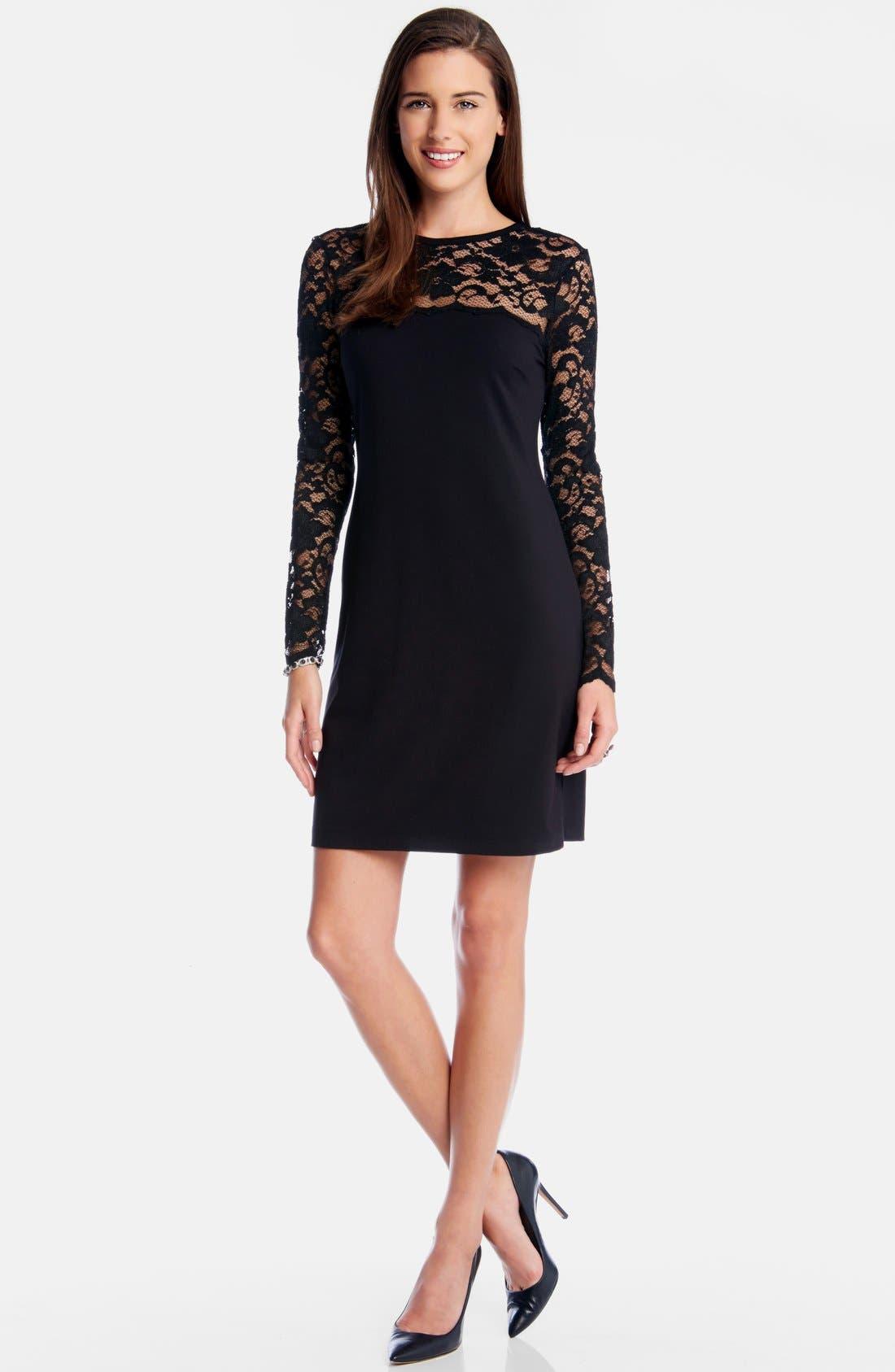 'Blake' Lace Yoke Sheath Dress,                         Main,                         color, Black