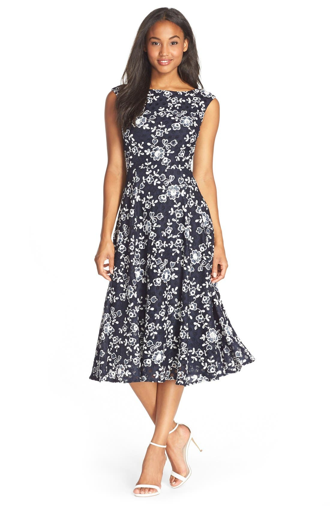 Alternate Image 1 Selected - Betsey Johnson Lace Midi Fit & Flare Dress