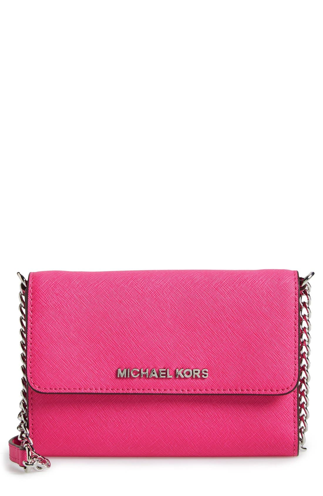 Alternate Image 1 Selected - MICHAEL Michael Kors 'Large Jet Set' Saffiano Leather Crossbody Bag