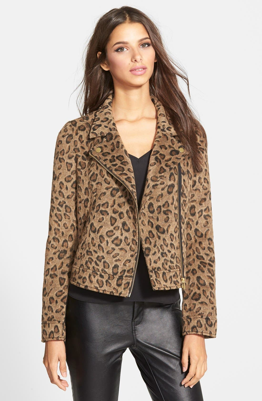 Main Image - Leith Leopard Print Moto Jacket