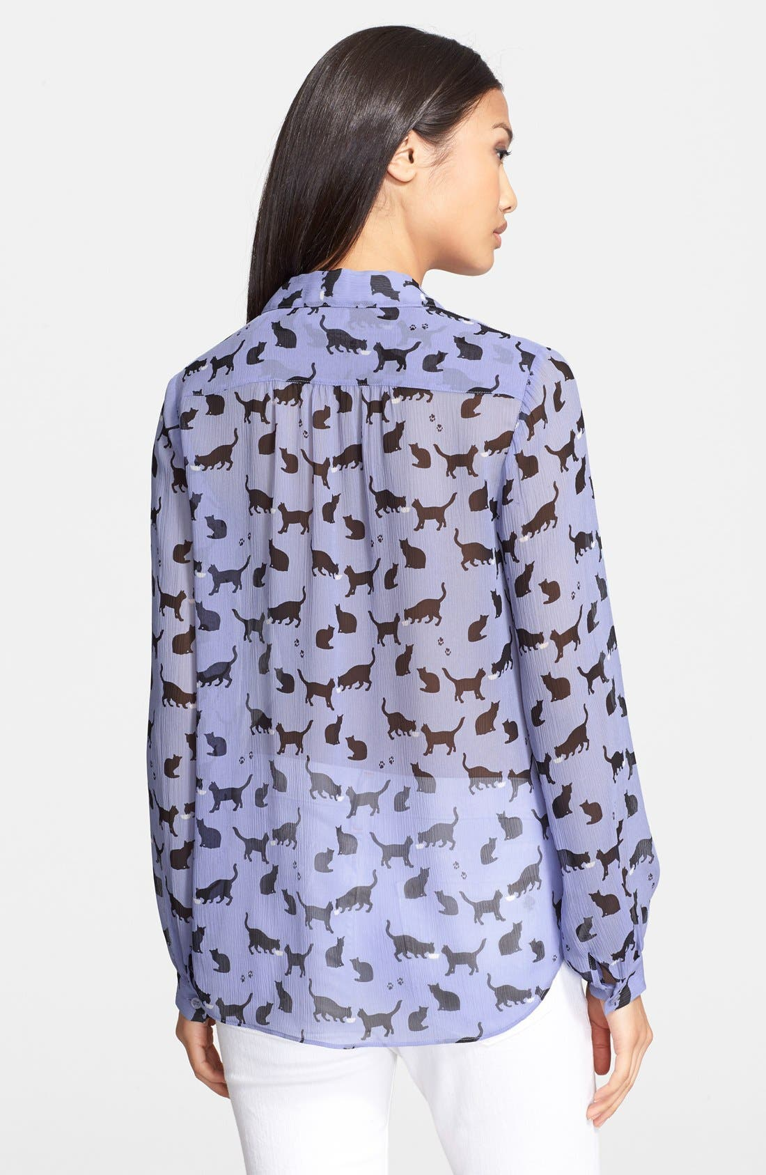 Alternate Image 2  - kate spade new york 'cats and cream' silk chiffon shirt
