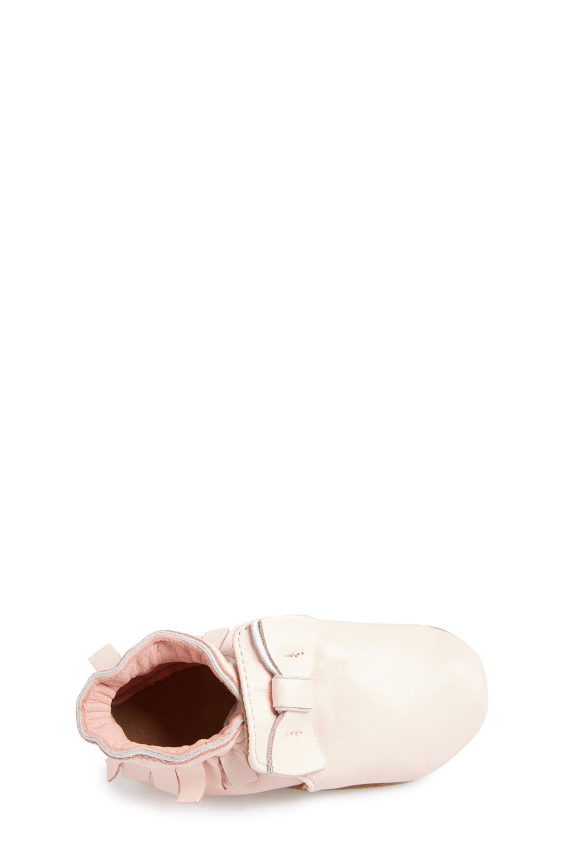 'Maggie Moccasin' Crib Shoe,                             Alternate thumbnail 3, color,                             Pastel Pink