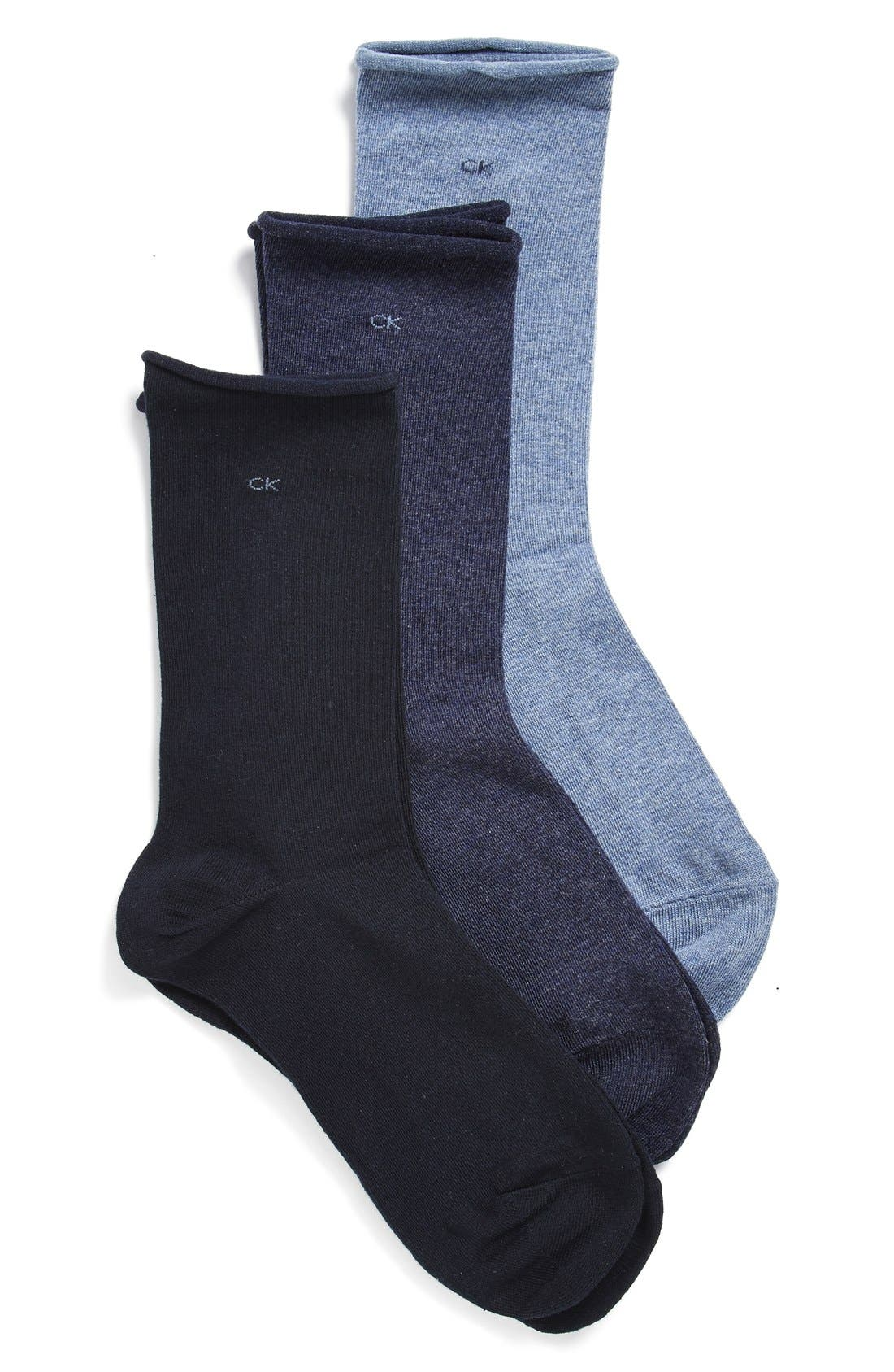 Main Image - Calvin Klein Roll Top Crew Socks (3-Pack)