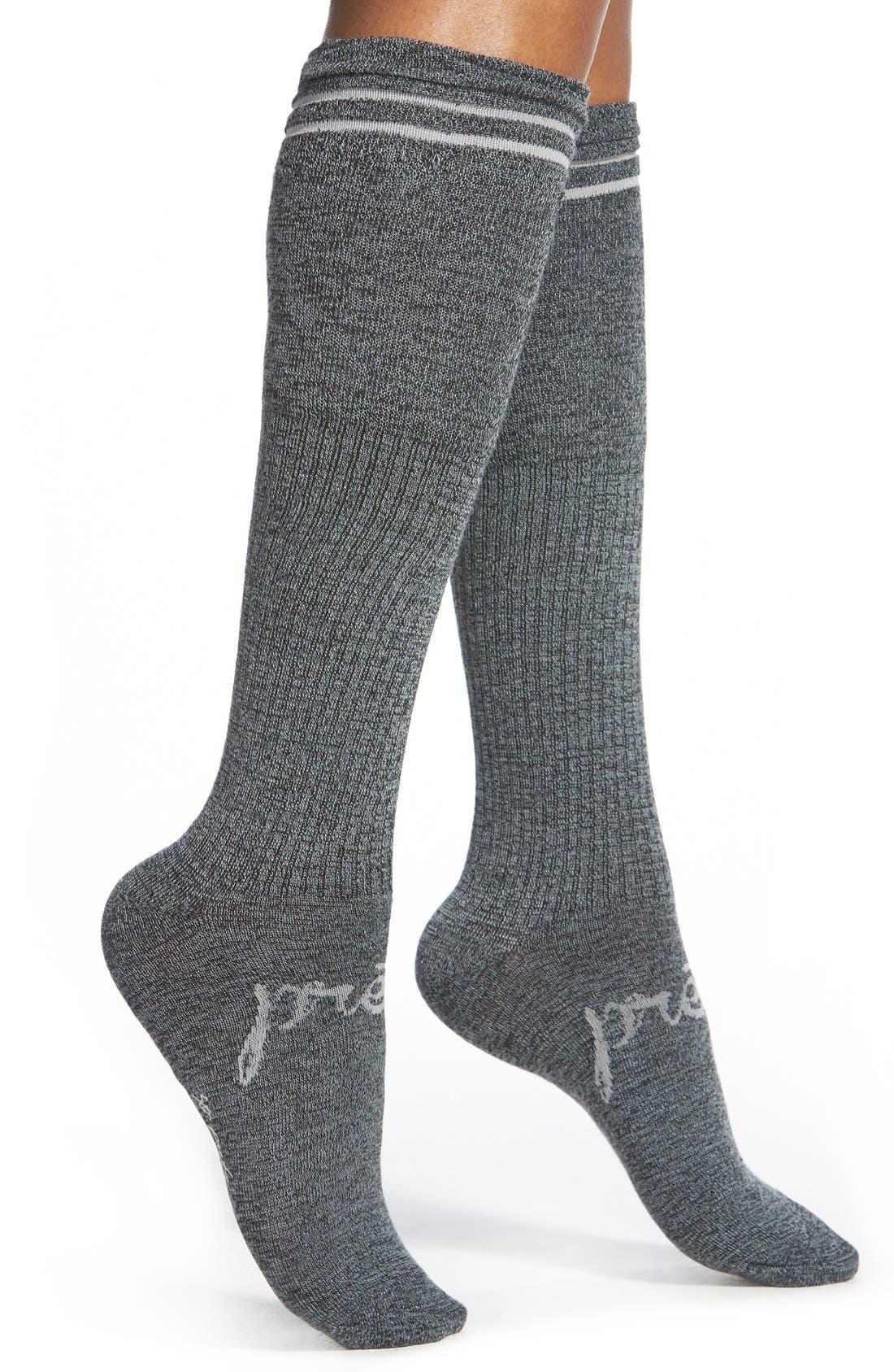Main Image - kensie Stripe Cuff Knee High Socks