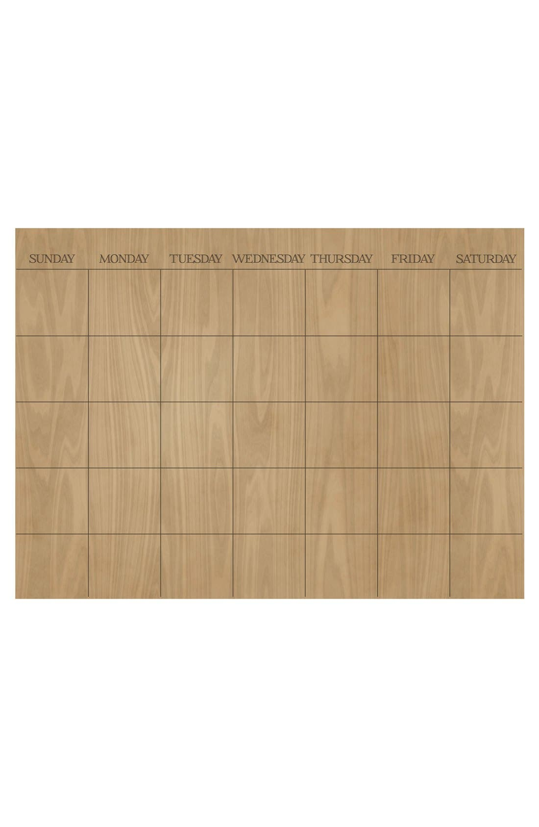 'Hardwood' Monthly Dry Erase Calendar,                             Main thumbnail 1, color,                             Brown
