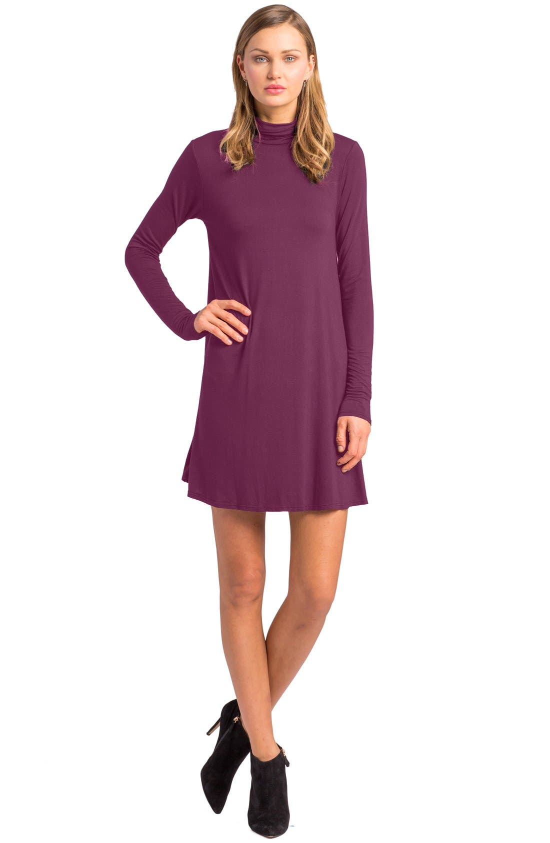 'Penny' Turtleneck Trapeze Dress,                             Main thumbnail 1, color,                             Aubergine