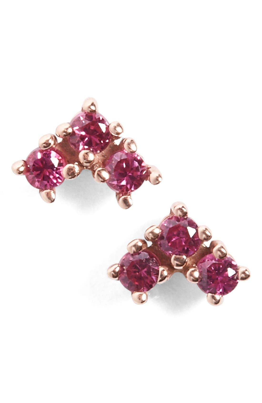 'Bea' Ruby Arrow Stud Earrings,                             Main thumbnail 1, color,                             Rose Ruby