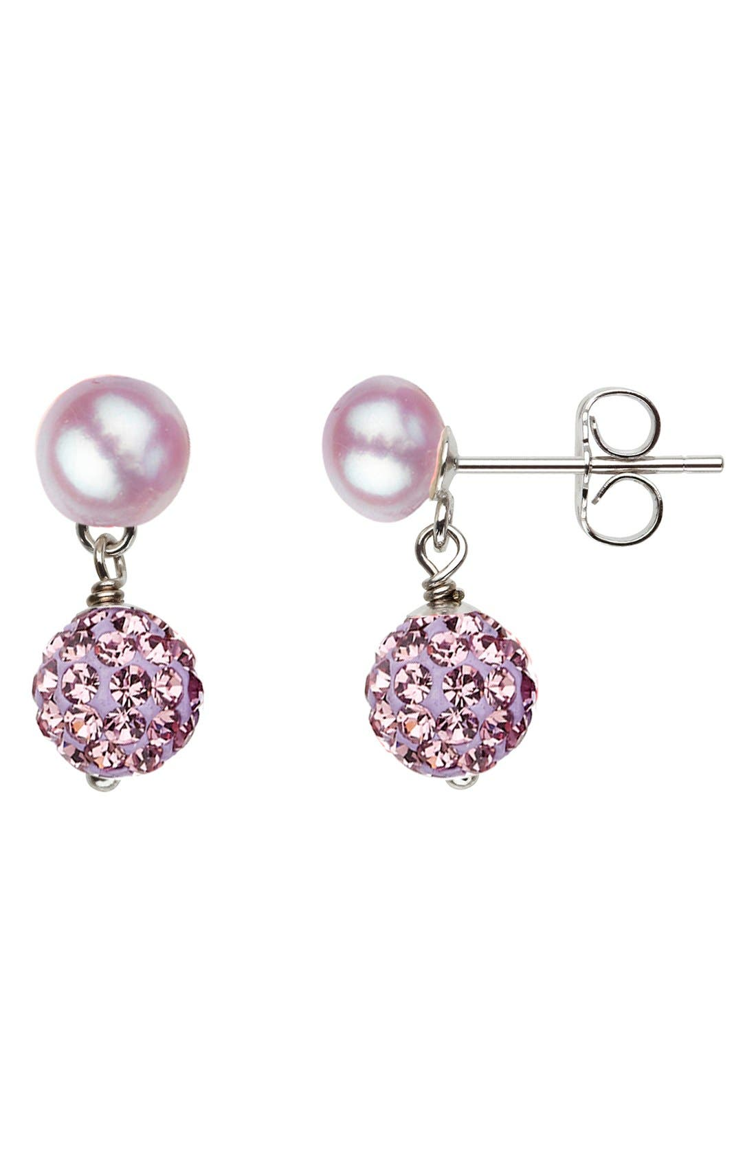 Crystal &Freshwater Pearl Earrings,                         Main,                         color, Lilac