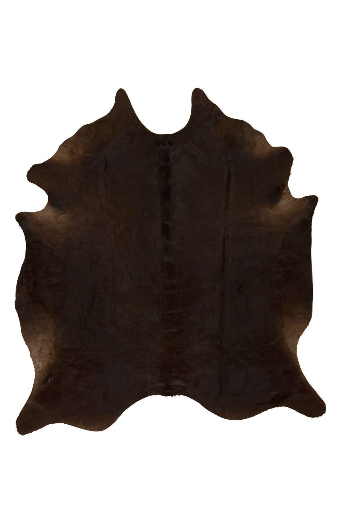 Genuine Cowhide Rug,                         Main,                         color, Dark Brown