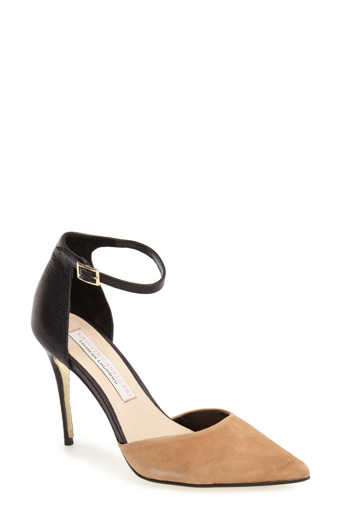 Ankle Strap Pump,                         Main,                         color, Black/ Camel Suede