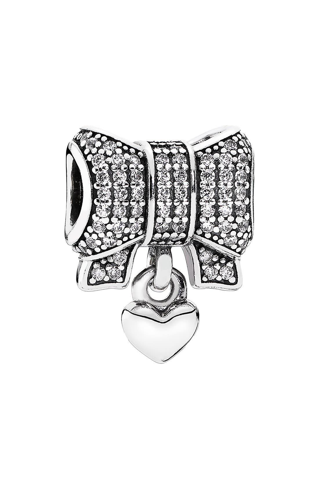 Alternate Image 1 Selected - PANDORA Bow & Heart Dangle Charm