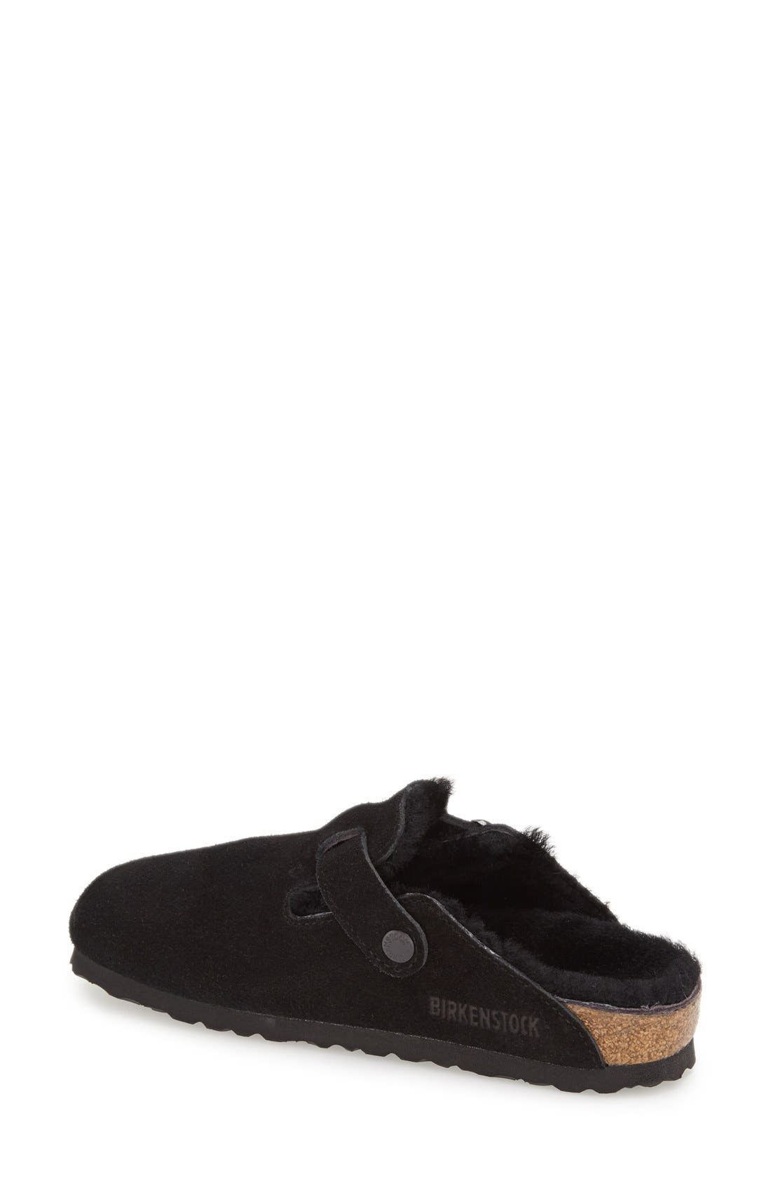 'Boston' Genuine Shearling Lined Clog,                             Alternate thumbnail 2, color,                             Black