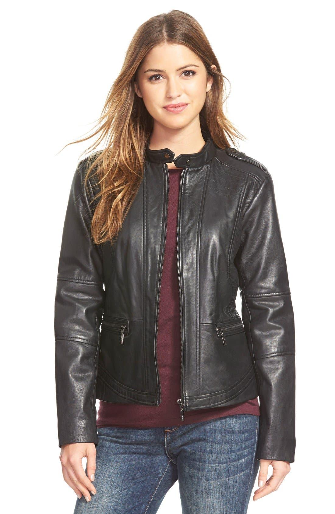 Alternate Image 1 Selected - Bernardo 'Kirwin' Zip Front Leather Jacket (Regular & Petite)