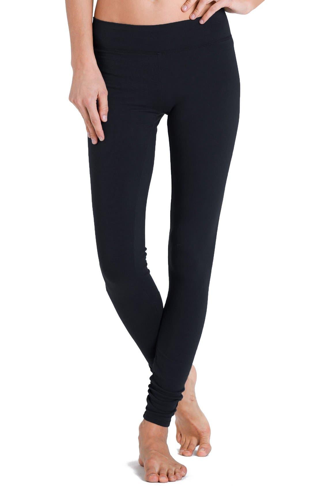 Flat Waistband Leggings,                         Main,                         color, Black