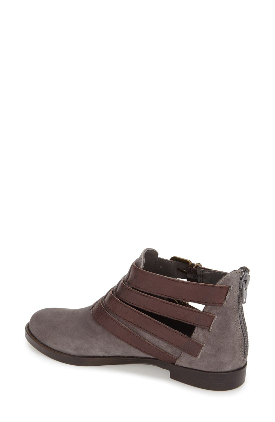 'Ronan' Buckle Leather Bootie,                             Alternate thumbnail 3, color,                             Grey Suede/ Chestnut