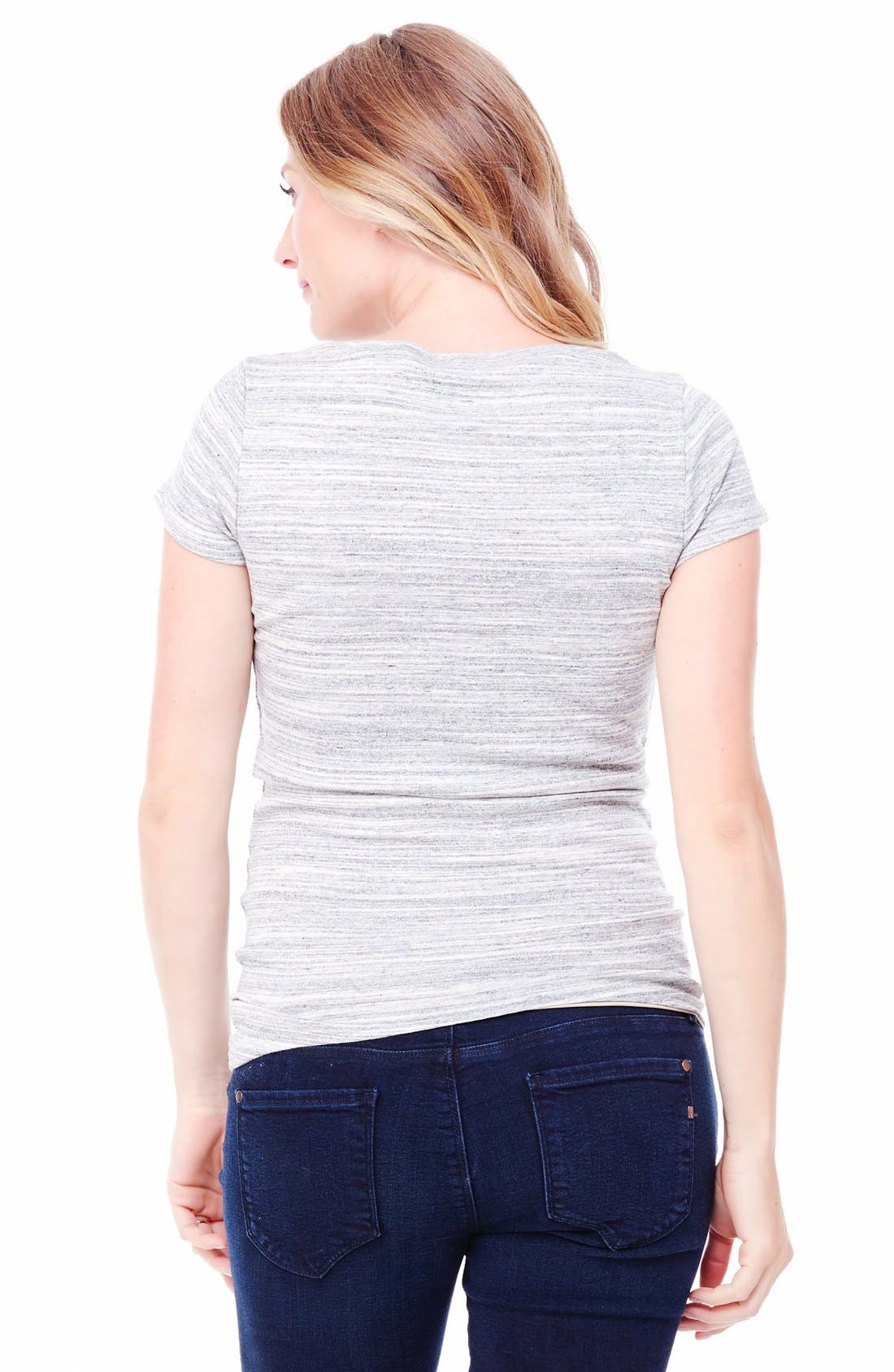 Ingrid & Isabel V-Neck Maternity Tee,                             Alternate thumbnail 2, color,                             Grey Swept Marble