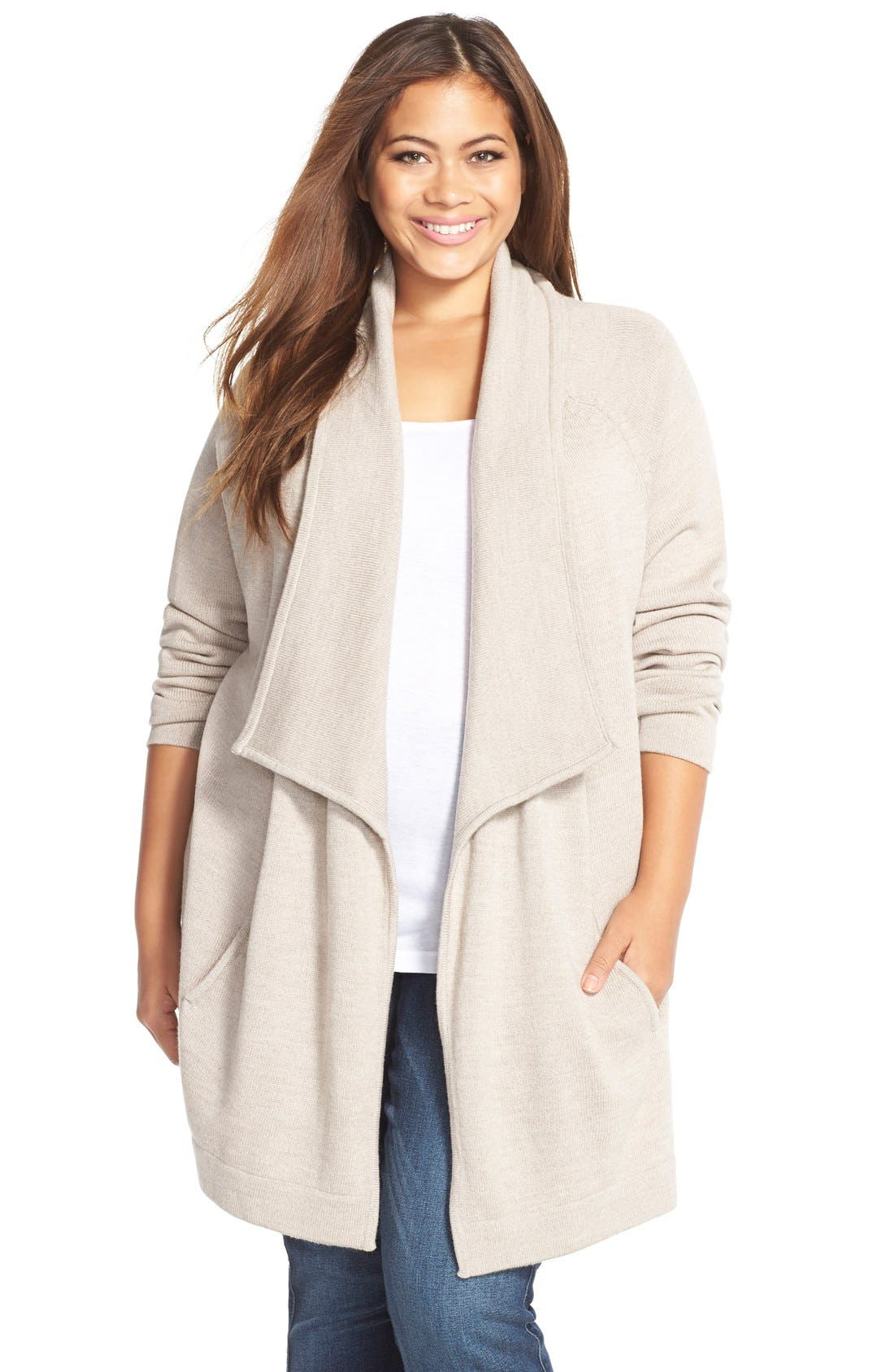 Tart 'Bain' Drape Front Merino Sweater Coat (Plus Size)