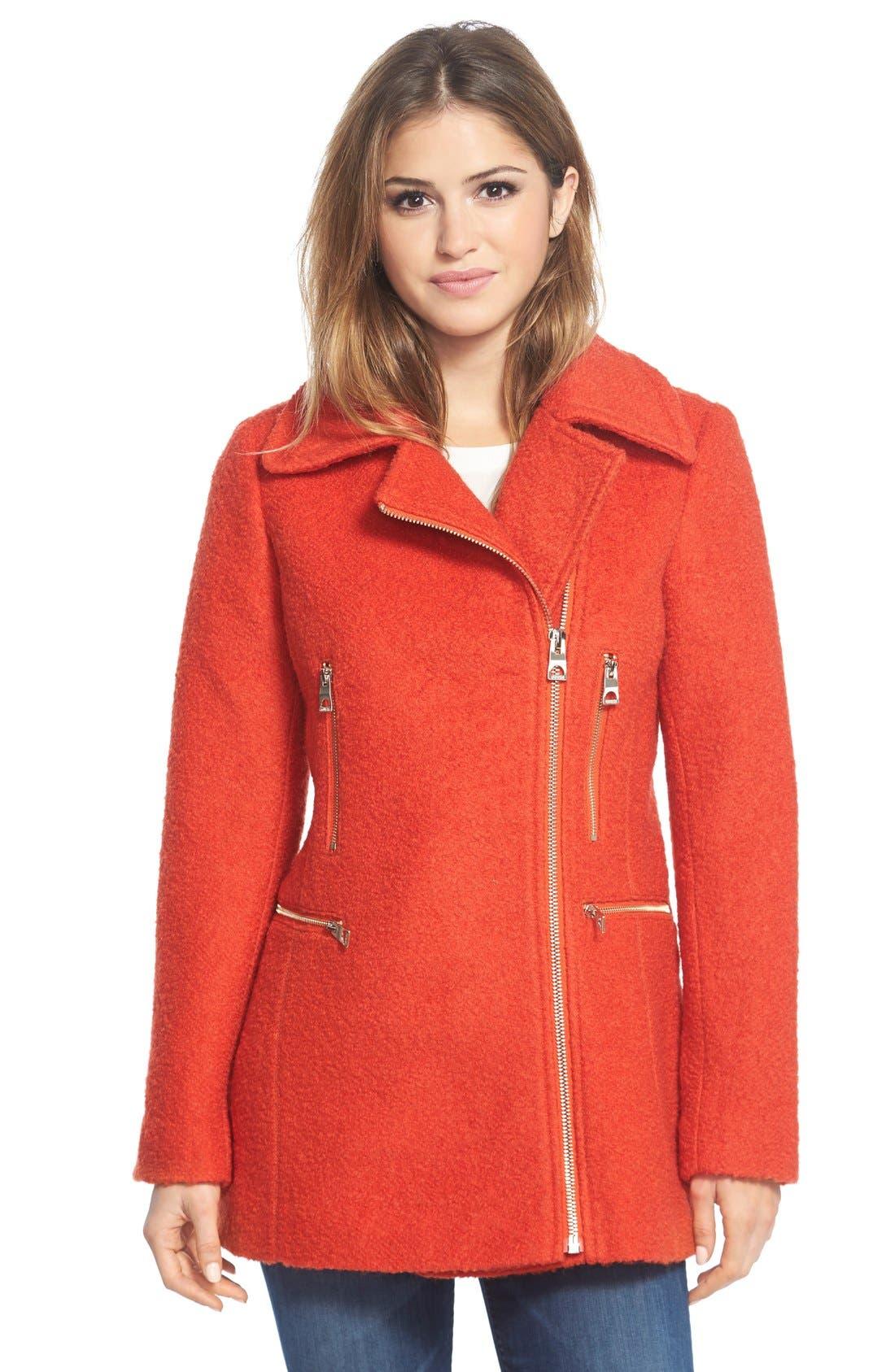 Main Image - GUESS Bouclé Asymmetrical Zip Coat
