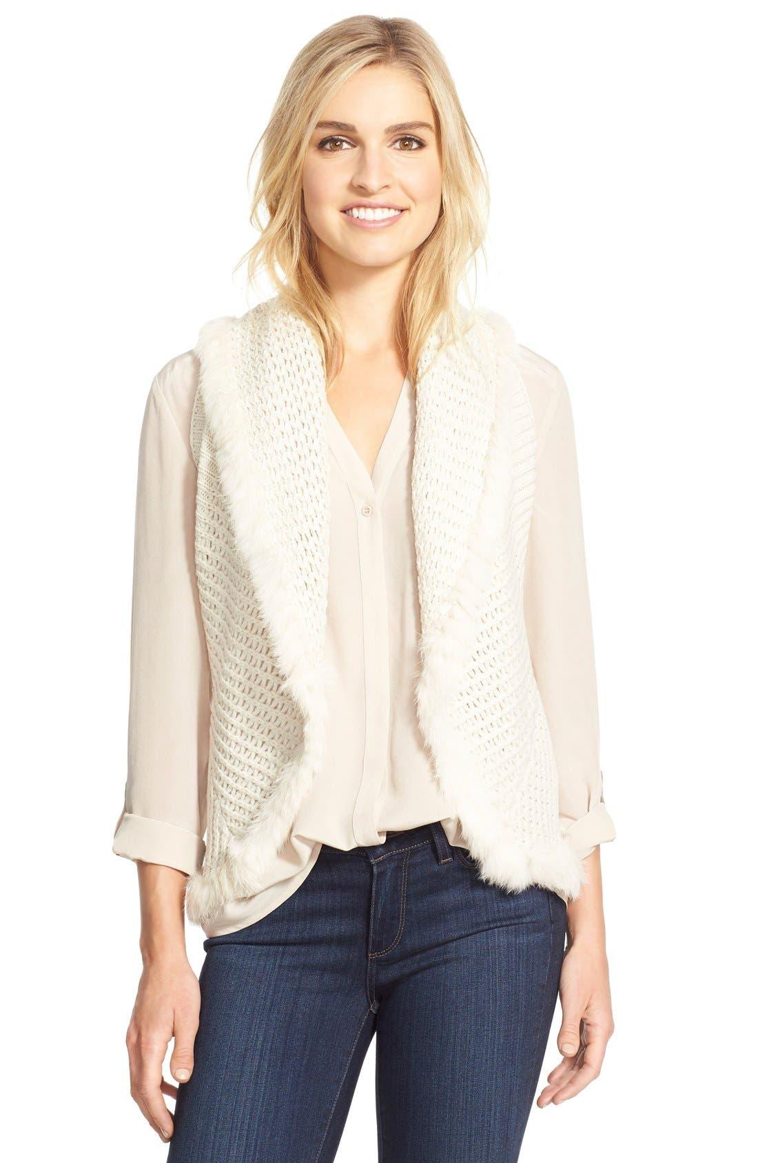 LOVE TOKEN Knit Vest with Genuine Rabbit Fur Trim