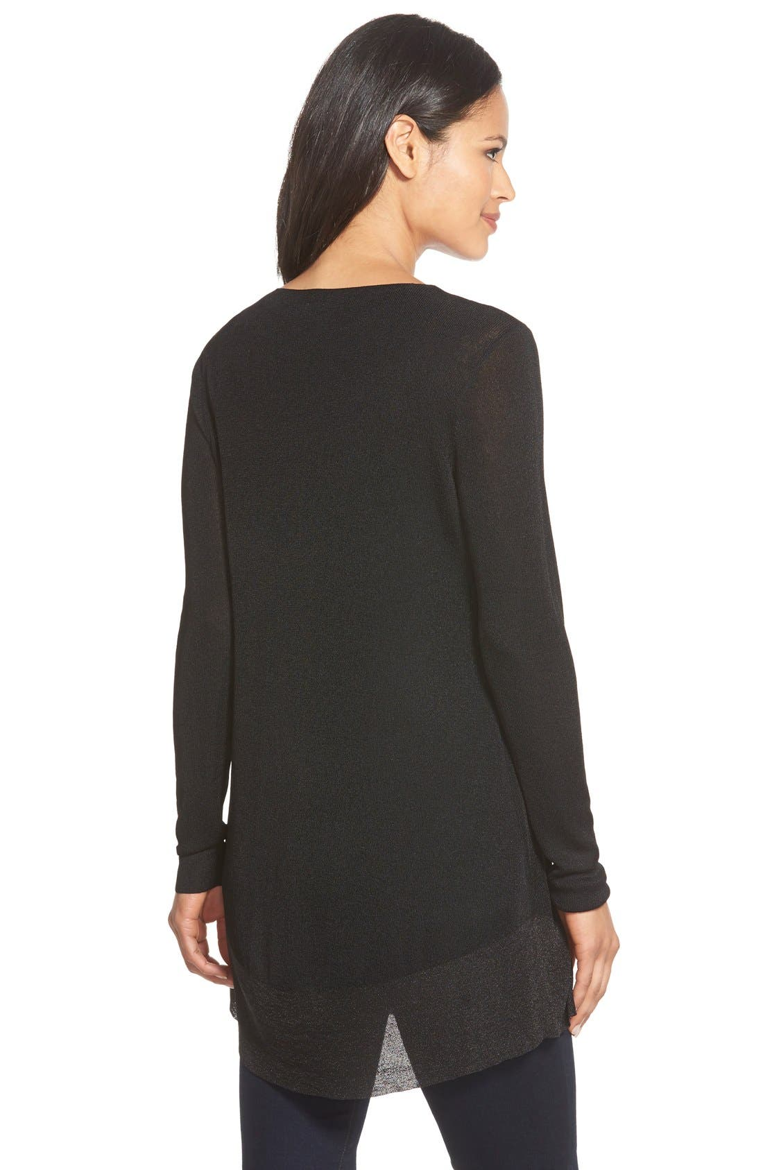 Alternate Image 2  - Eileen Fisher Shimmer V-Neck Tunic (Regular & Petite)