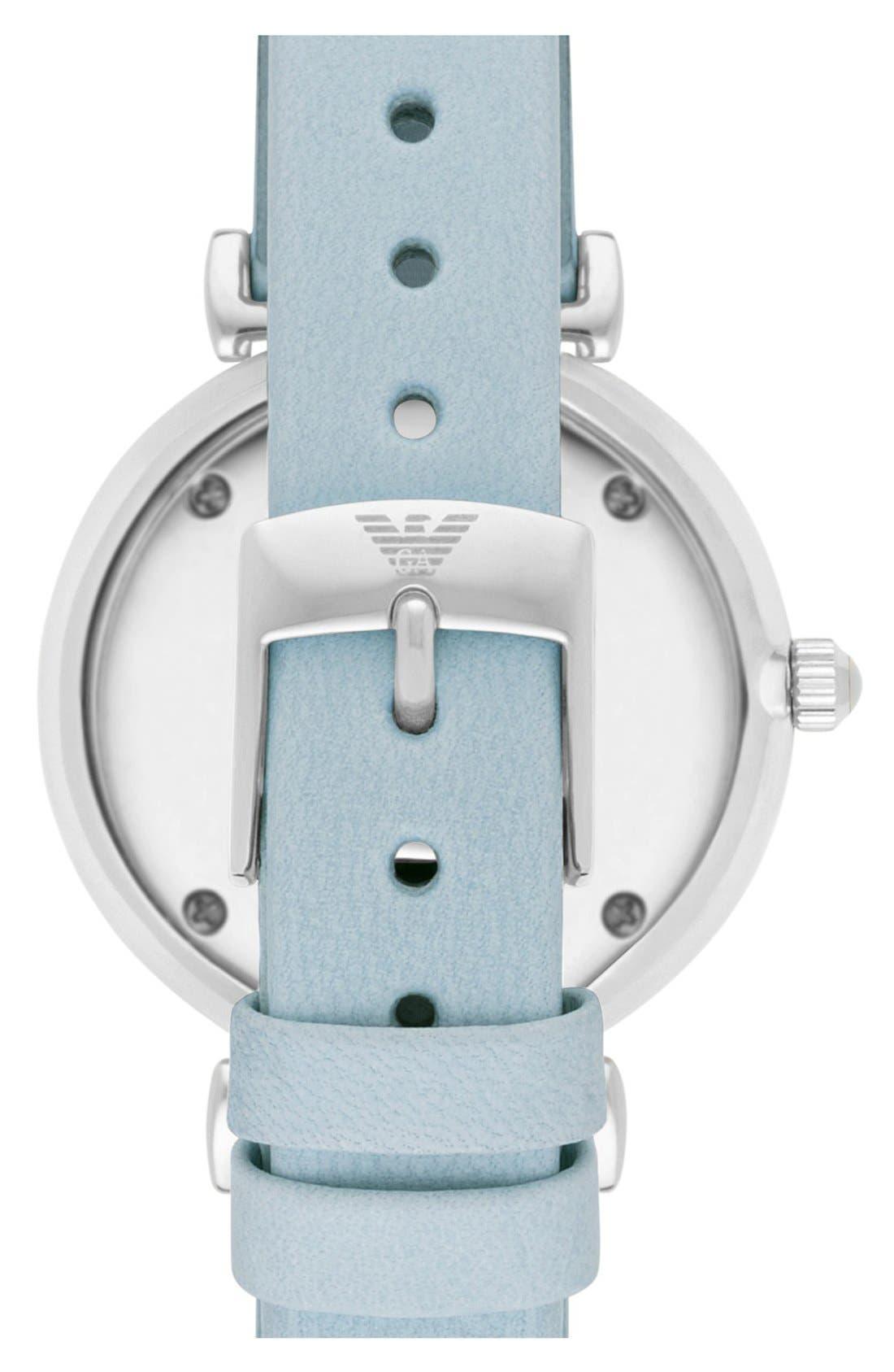 Alternate Image 2  - EmporioArmani 'Retro' Leather Strap Watch, 32mm