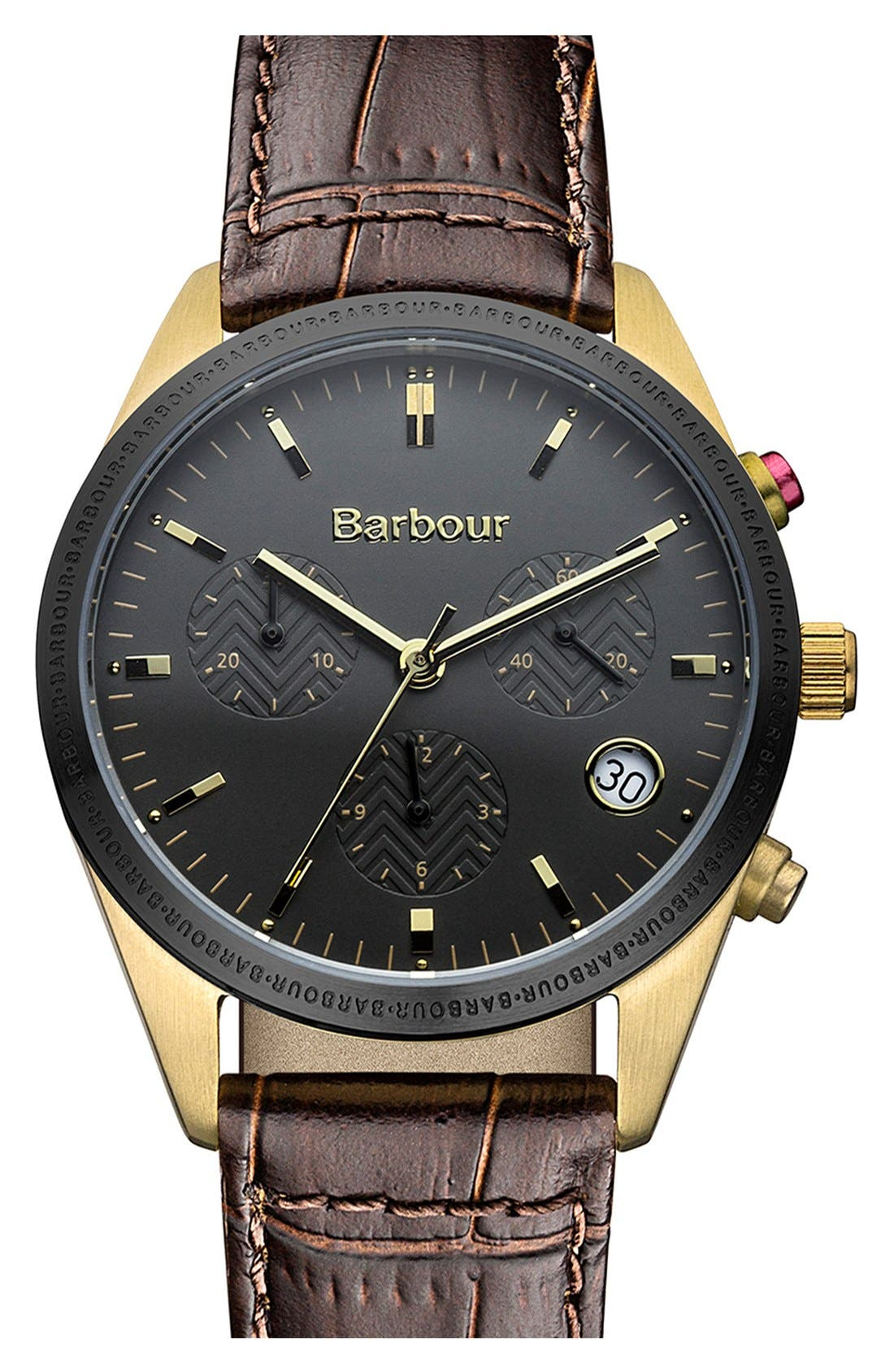 Main Image - Barbour 'Heritage' Leather Strap Watch, 35mm