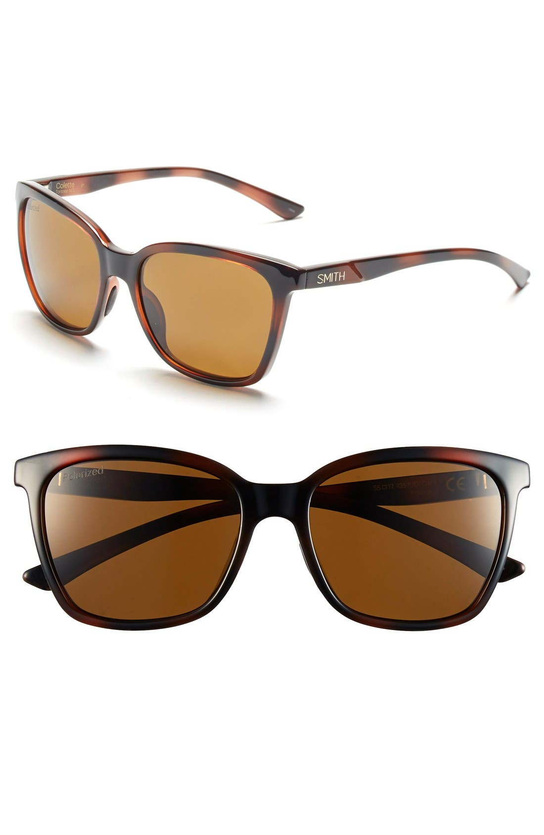 'Colette' 55mm Polarized Sunglasses,                             Main thumbnail 1, color,                             Tortoise/ Polar Brown