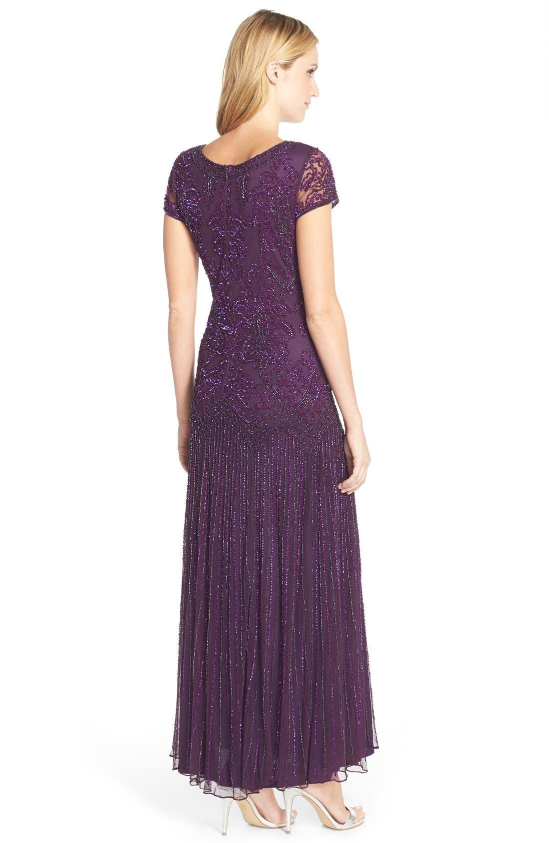 Alternate Image 2  - Pisarro Nights Beaded Mesh A-Line Gown (Regular & Petite)