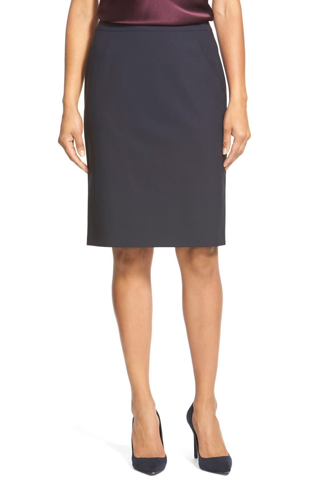 Vilea Tropical Stretch Wool Pencil Skirt,                             Main thumbnail 1, color,                             Navy
