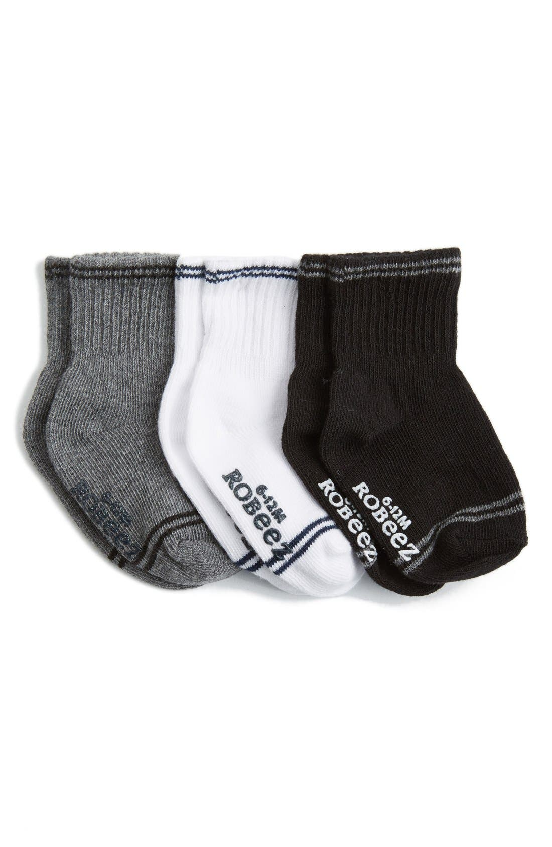 Robeez® 'Goes with Everything' Ankle Socks (3-Pack) (Baby & Walker)