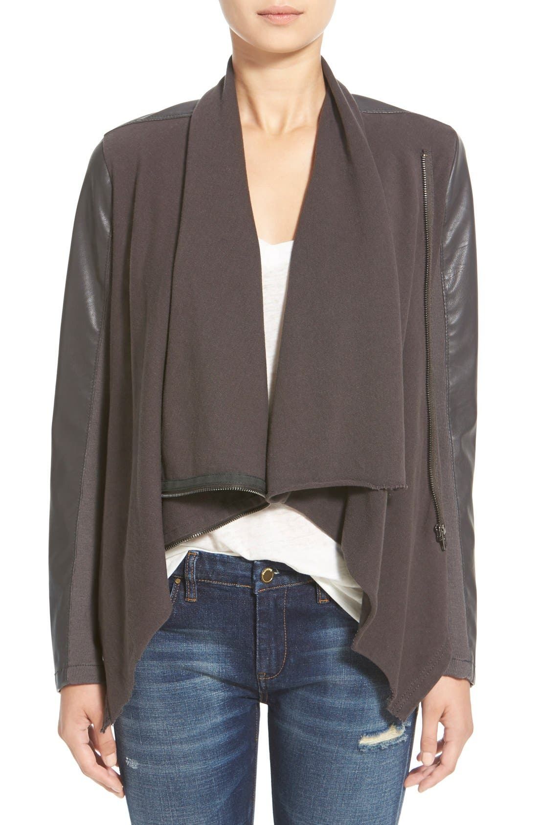 'Private Practice' Drape Front Mixed Media Jacket,                         Main,                         color, Grey