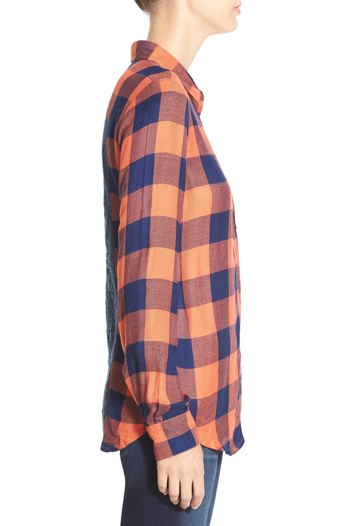 Alternate Image 3  - Rip Curl 'Dweller' Lace Back Flannel Shirt